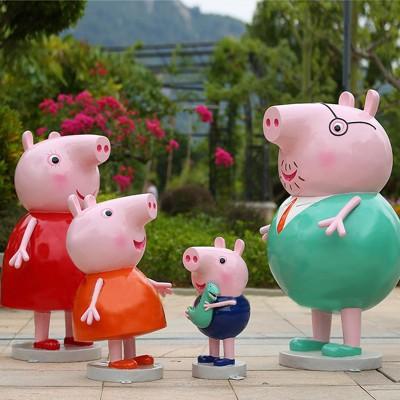商场玻璃钢卡通小猪佩奇雕塑
