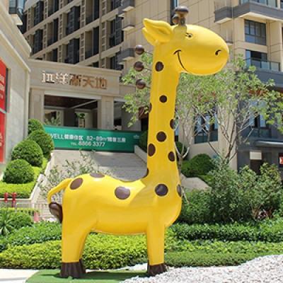 玻璃钢动物景观广场长颈鹿雕塑