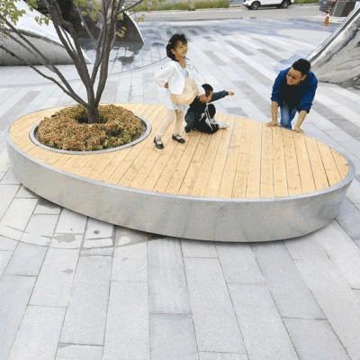 不锈钢木面树池圆形坐凳