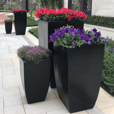 黑色玻璃钢花箱广场街区市政园林绿化花盆