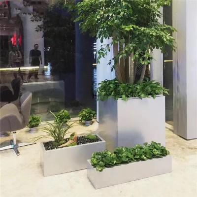 不锈钢长方形花箱绿植景观花盆