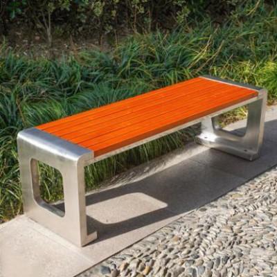 不锈钢长条木质座椅景观公园坐凳