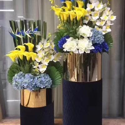 不锈钢圆柱形创意园林景观花盆