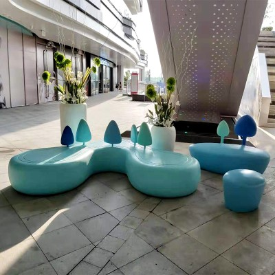 创意玻璃钢心形小树座椅小山靠背户外商场休息凳等候椅