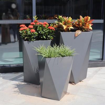 玻璃钢几何菱形花盆商场酒店走廊艺术花器