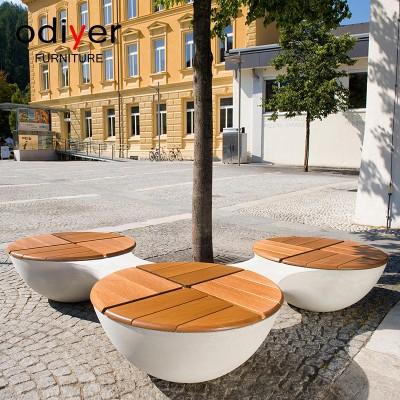 玻璃钢木艺面座椅户外景观创意坐凳
