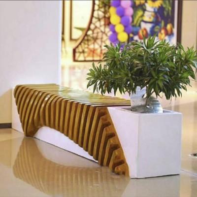 玻璃钢商场大堂休息区排骨造形创意座椅花盆组合