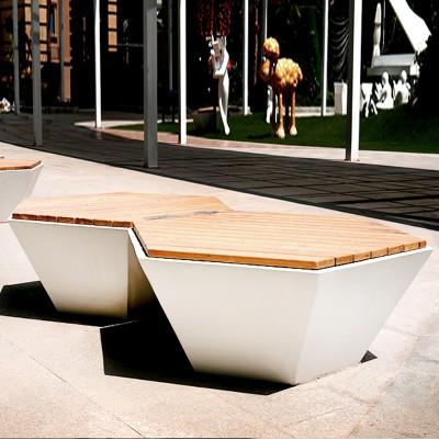 木质面玻璃钢景观菱形坐凳