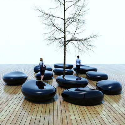 玻璃钢黑色鹅卵石坐凳创意景观美陈户外休息椅定制
