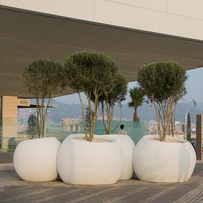 室外组合大花盆美陈移动花坛商场户外玻璃钢花盆