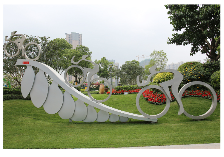 自行车不锈钢雕塑