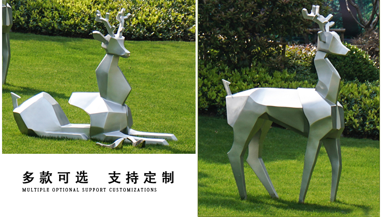 不锈钢景观鹿动物景观雕塑