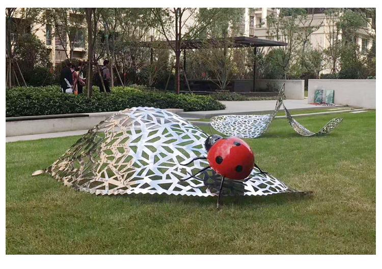 不锈钢瓢虫动物景观广场雕塑
