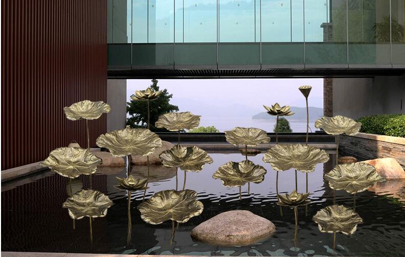 不锈钢荷叶莲花雕塑,艺术般的雕塑!
