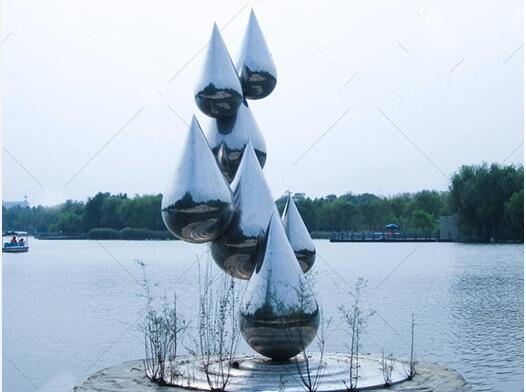 大型水滴造型不锈钢雕塑,品质是生命!
