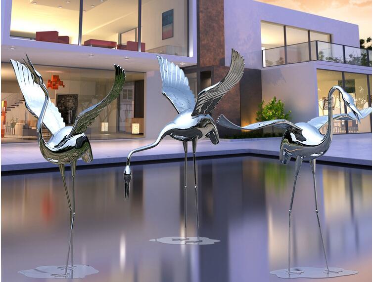 不锈钢祥瑞仙鹤雕塑,庭院户外装饰艺术品!
