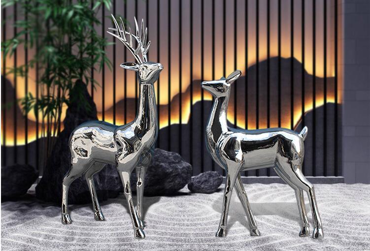 园林景观雕塑,不锈钢鹿雕塑!