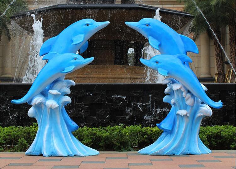 玻璃钢海豚动物景观雕塑