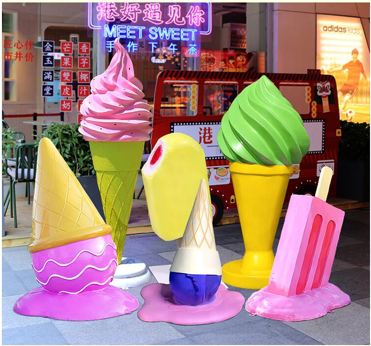 仿真雪糕玻璃钢商场景观雕塑