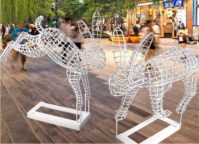 不锈钢兔子镂空雕塑,手工与艺术的相互交融!