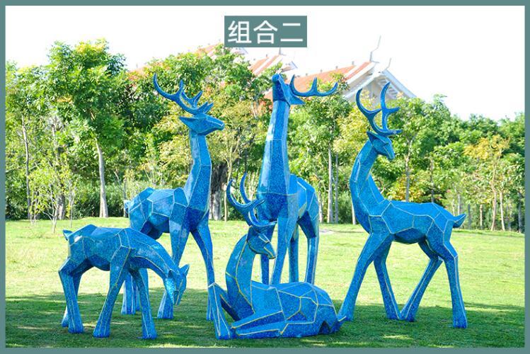 切面鹿玻璃钢动物景观广场雕塑
