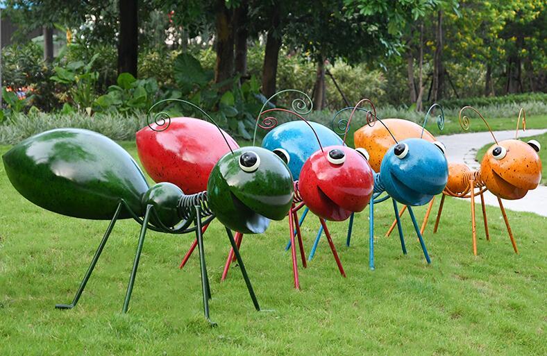 铁艺蚂蚁雕塑,幼儿园楼盘不锈钢昆虫摆件!
