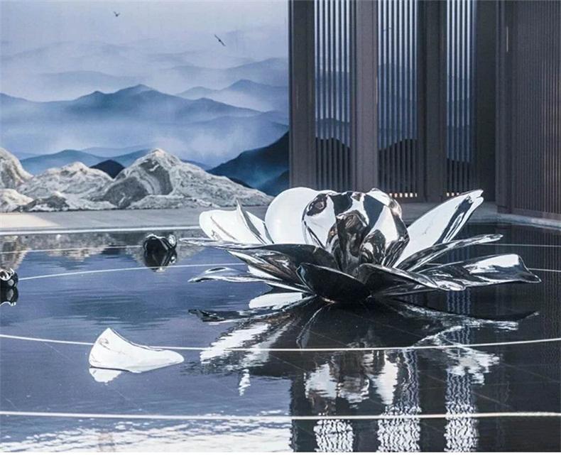 不锈钢荷花景观广场雕塑