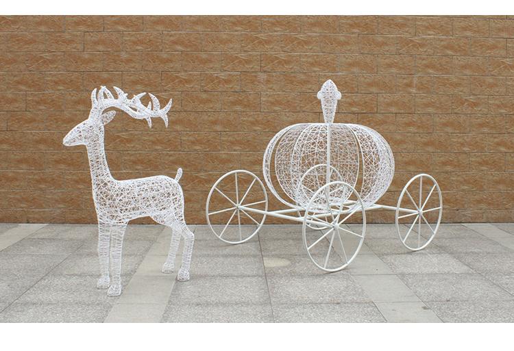 不锈钢镂空动物鹿校园景观雕塑