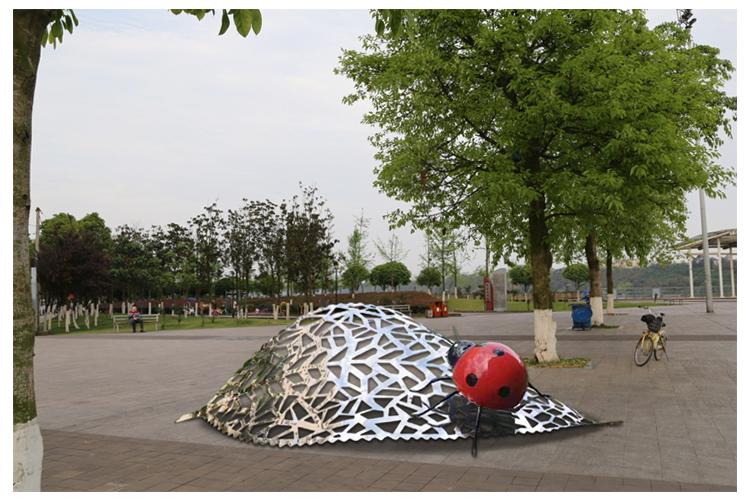 不锈钢瓢虫树叶动物景观广场雕塑