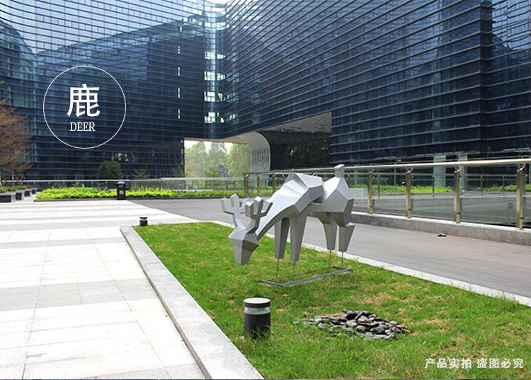 不锈钢动物鹿景观广场校园雕塑