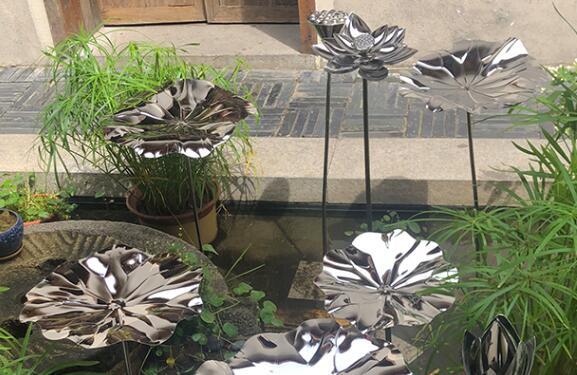 不锈钢荷叶雕塑摆件,新古典风格荷叶!