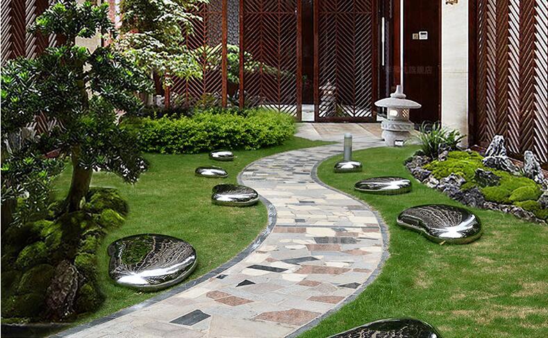 不锈钢鹅卵石雕塑,户外园林景观小品!