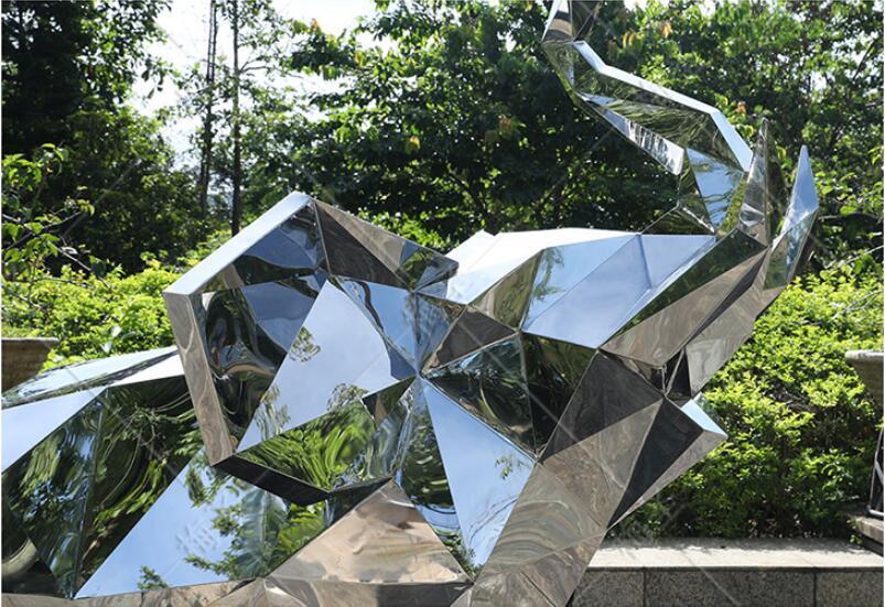 不锈钢镜面象雕塑,百福呈象!