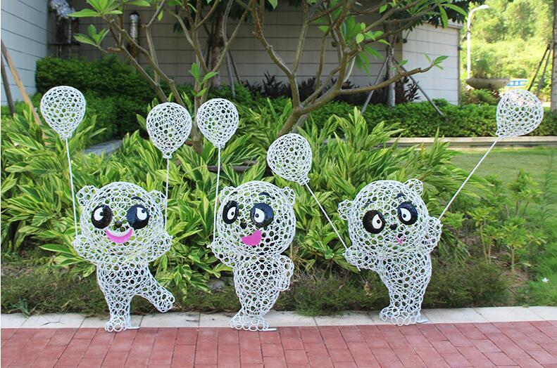 不锈钢铁艺气球熊猫雕塑,逼真可爱的铁艺熊猫!