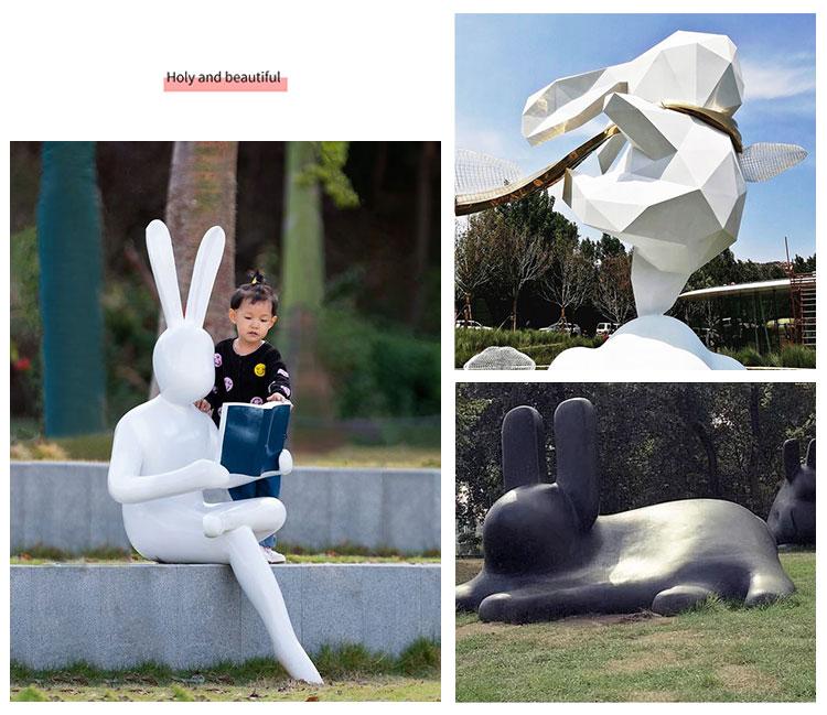 玻璃钢创意兔子户外动物景观雕塑