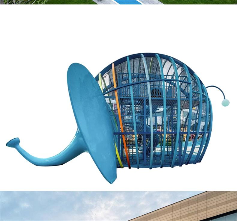 玻璃钢大象不锈钢滑梯雕塑