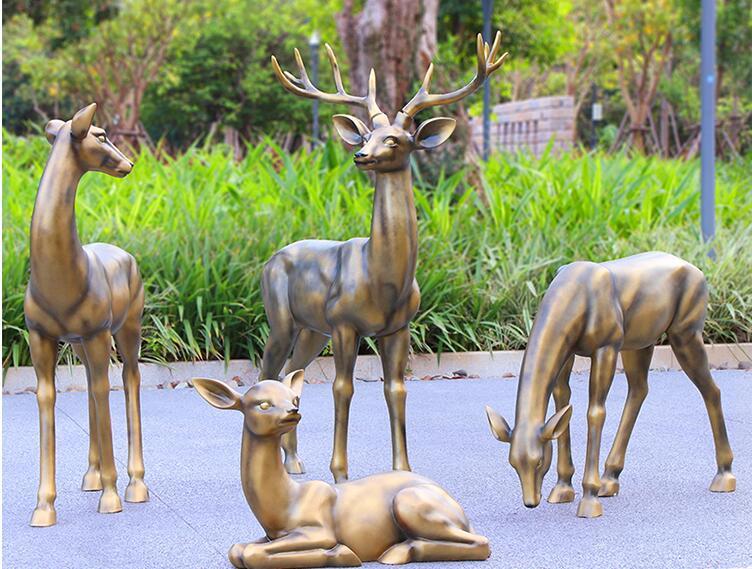 玻璃钢仿铜梅花鹿雕塑,为什么如此受欢迎!