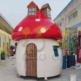 玻璃钢蘑菇房子雕塑户外大型蘑菇屋子公园广场景观小品摆件