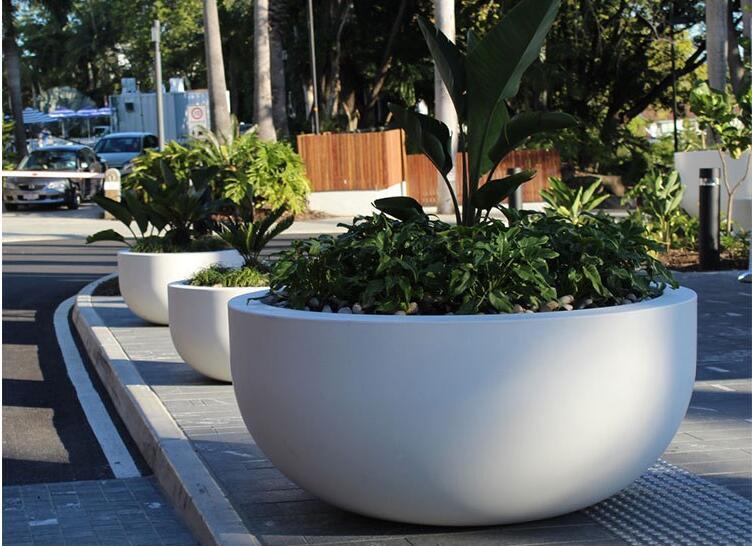 户外玻璃钢圆形花盆大广场室内商场步行街异形大花缸定制花器组合