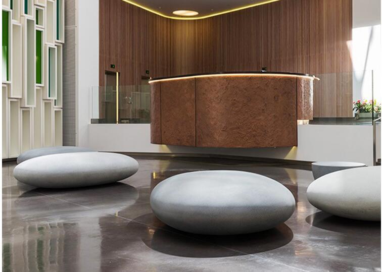 玻璃钢商场鹅卵石休闲座椅子等候石头凳子