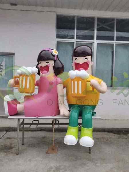 玻璃钢啤酒节卡通人物雕塑广场装饰摆件