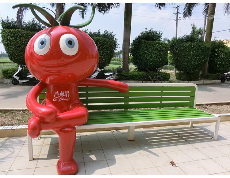 木质长条靠背不锈钢坐凳西红柿玻璃钢雕塑休闲椅