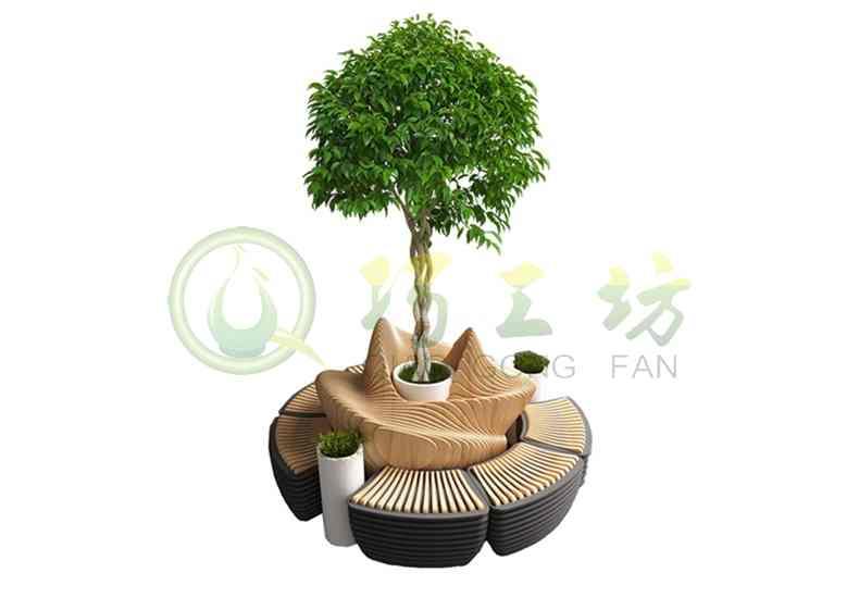木质异形景观切片座椅商场创意树池坐凳