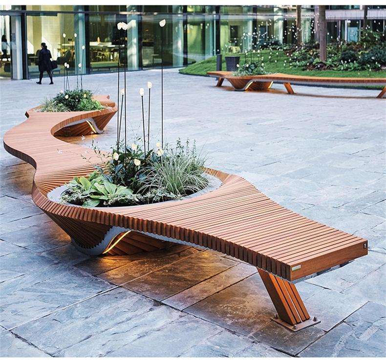 木艺切片绿植花盆景观异形坐凳