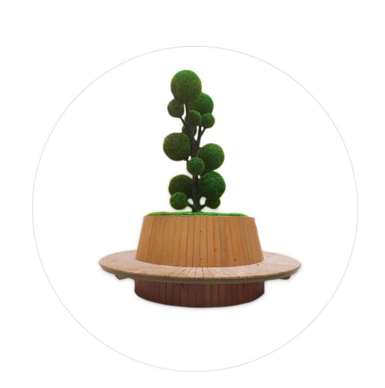 木艺圆形景观坐凳商场绿植树池休闲椅