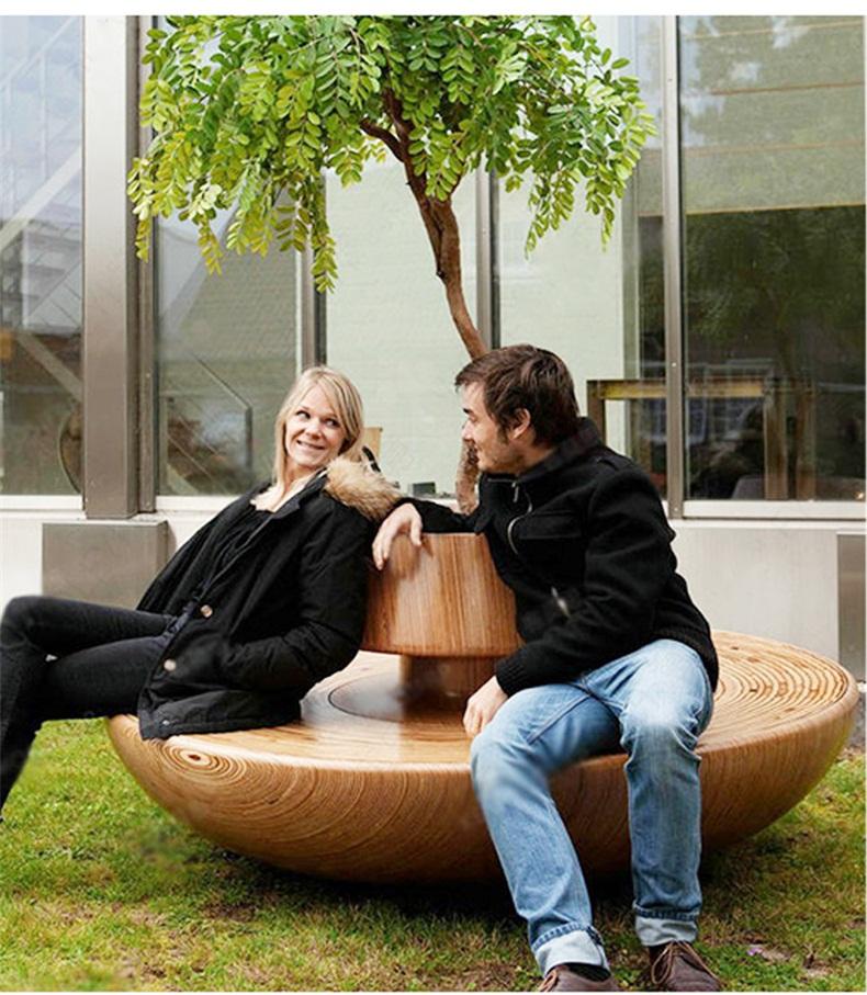 商场酒店圆形创意玻璃钢树池坐凳