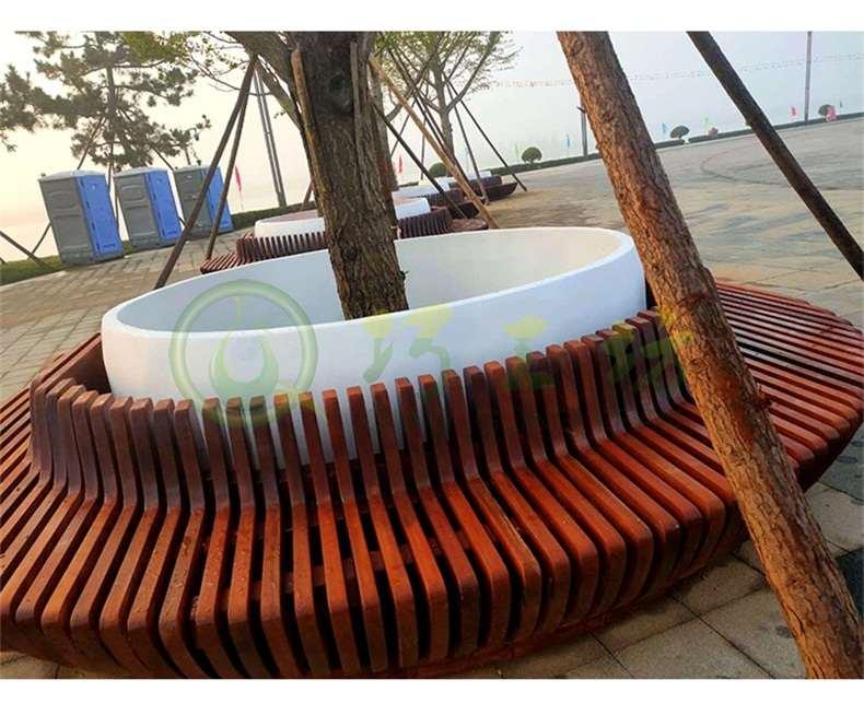 菠萝格木质切片圆形树池玻璃钢花坛坐凳