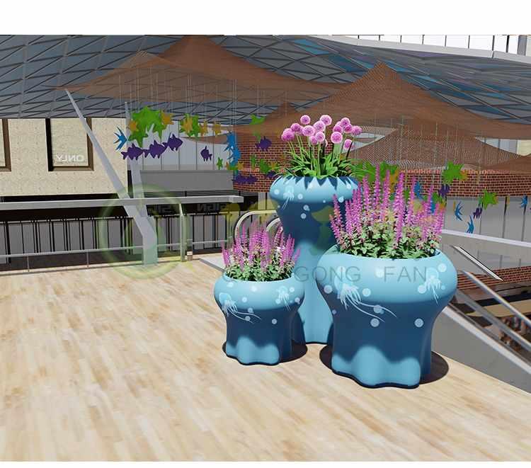 水母创意玻璃钢花盆艺术商场彩绘花器