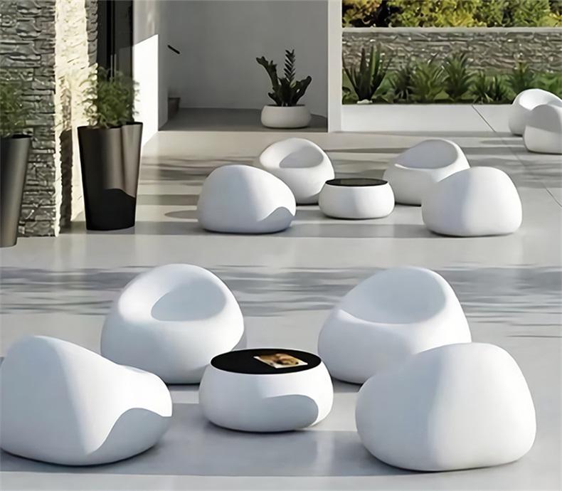 鹅卵石玻璃钢沙发创意商场休闲椅座椅组合