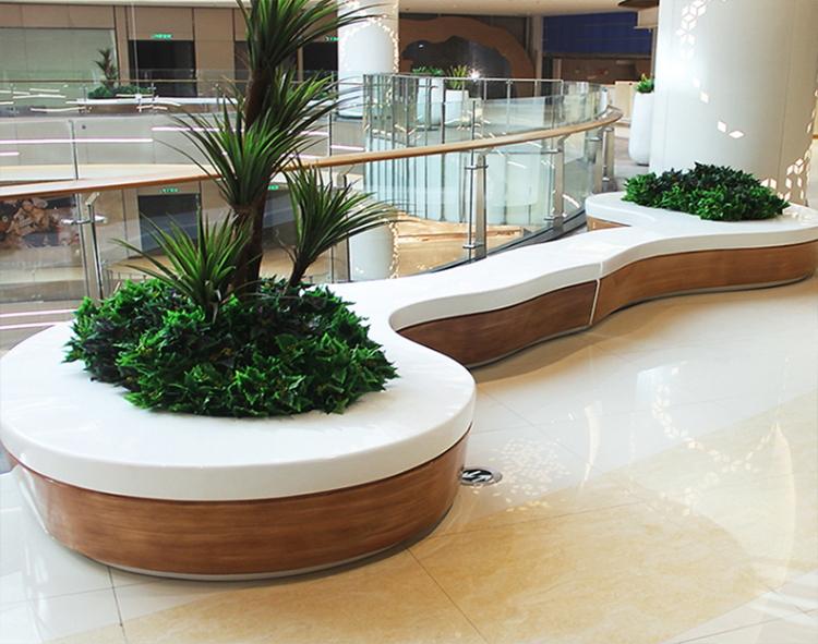 仿木纹玻璃钢树池坐凳商场异形种植池休闲椅